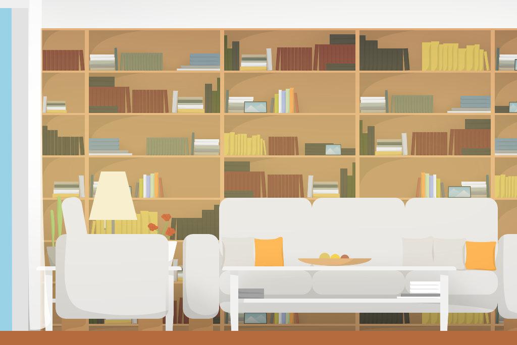 Vektorisierte Darstellung eines Wohnzimmers